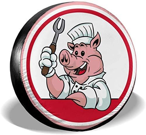 MODORSAN BBQ Chef Pig Roast Cubierta de neumático de Rueda de Repuesto Poliéster Cubiertas de Rueda universales para Jeep Trailer RV SUV Accesorios de camión, 15 Pulgadas