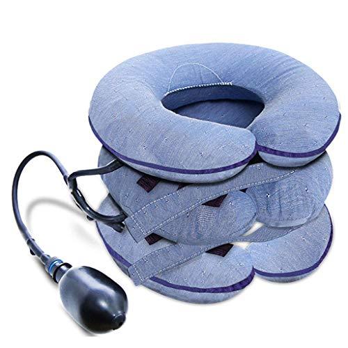 DONGBALA Halswirbelsäule, Halskrause Aufblasbare Zervixzugvorrichtung Einstellbar Atmungsaktives Gewebe Für Nackenschulterschmerzlinderung Im Home Office Unisex,Blau