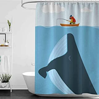 Shower Curtains for Bathroom with Whale,Navy Themed Vintage Cartoon Design with Sun Ship and Mottos on it Work of Art,Multi Colored W65 x L72,Shower Curtain for Women