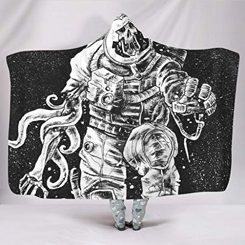Festhad Black Lost Spaceman Mutation Sketched Outer Space Astronaut Stars Universe Painting Print Hooded Blankets Beautiful Soft TV Blanket Kids Lounging White 60x80 inch