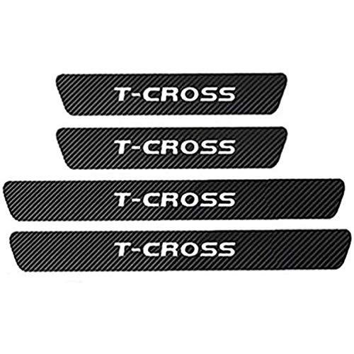 AMPTRV 4pcs Threshold Cover Protection Trim Einstiegsleisten & Türschweller für VW T-Cross T Cross 2010-2021, 4D-Kohlefaser Kfz Anti-Kick Anti-Scratch Pedal Styling Dekoration Zubehör