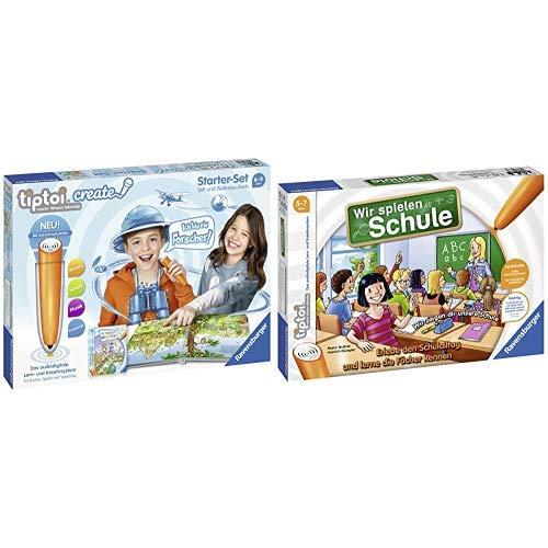 Ravensburger Tiptoi 00805 Create Starter-Set: Stift und Weltreise-Buch &  tiptoi Wir spielen Schule - 00733 / Erlebe interaktiv einen kompletten Schultag