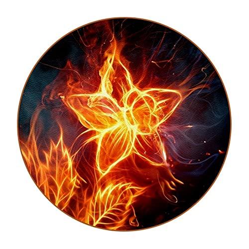 Juego de 6 posavasos redondos de fieltro, posavasos para vasos, tazas, bar, cristal, prémium con hojas en el fuego