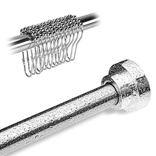 Barra telescópica para cortina de ducha, fijada firmemente sin taladrar, ajustable en longitud, se puede utilizar como barra de cortina de ducha, barra de tendedero, equipada con 12 anillos de ducha