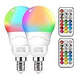 Farbwechsel Glühbirne Dimmbar [2er Pack], 6W E14 RGB LED Schraubglühbirnen mit Fernbedienung, warmweiße energiesparende Nachtlampe für Home Party
