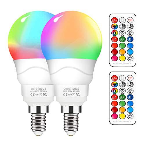 LED Lampe E14 RGBW [pack of 2], 6W LED Farbwechsel Birne , Dimmbar Farben LED Glühbirne mit Fernbedienung, Farbwechsel Glühbirne für Home Party