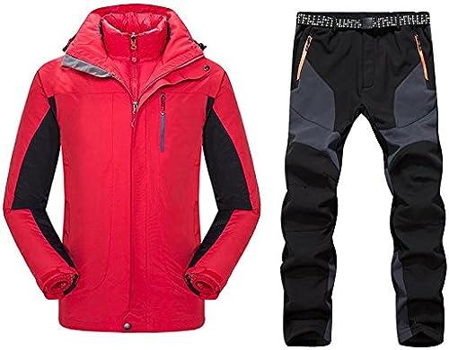 YFF Combinaison de Ski Homme de plein air Camping randonnées Jeux VêteHommests Chauds imperméables Veste et Pantalon Hommes