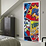 Retro Pop Art Comic Shout Vinilo autoadhesivo sin costuras Extraíble Puerta exterior Calcomanía Papel pintado moderno 30x79 pulgadas (77x200cm) 2 Piezas