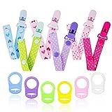 12PCS Schnullerband Baby mit Silikonring für Schnuller, Schnullerketten clip für Lätzchen Dreieckstuch Sauger Schnuller für Baby Junge Mädchen JAANY (viel)