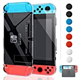 FYOUNG Cover per Nintendo Switch con Pellicola Vetro Temperato, [Montare nel Dock] Custodia Protettiva in TPU Anti-Graffio Compatibile con Switch Console & Joy-Con, Chiaro