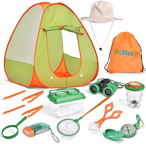FUN LITTLE TOYS 15 Pieces Kids Pop Up Play Tent Set Bug Catcher Kit Accessories and Play Tent product image
