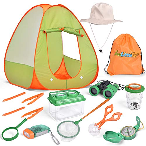 kit tents FUN LITTLE TOYS Outdoor Explorer Kit 15 Pieces Kids Pop Up Play Tent Set, Bug Catcher Kit Accessories and Play Tent,Outdoor Playhouse Set for Boys & Girls