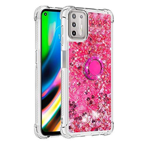G9 Plus Funda Girly para Motorola G9 Plus Diamond Anillo Magnético, Glitter Liquid Bling Quicksand híbrido a prueba de golpes suave Bumper Cover (funciona con soporte para coche) (rosa)