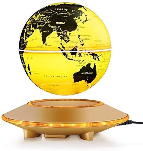 WOHAO Globus Globe 6Inch Schwebender Globus mit LED-Leuchten Magnetschwebebahn Schwebender Globus Weltkarte for Schreibtisch-Dekoration (Gold, 6Inch) Educational Geographic Lernen Spielzeug