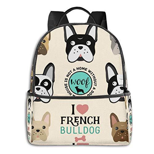 FONDSILVER Sac à Dos d'école Unisexe avec Inscription « I Love French Bulldog » pour Ordinateur Portable, Livre, Sac de randonnée pour garçons, Filles, Femmes, Hommes et étudiants