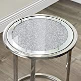 Mirrored Coffee Side End Table & Stainless Steel Frame...