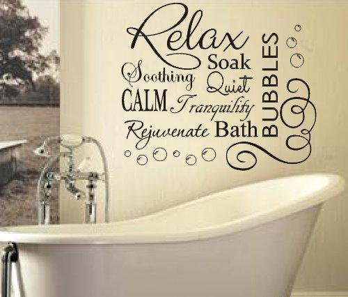 FSSS Adesivo da parete in vinile per bagno testo Relax Soak Bubbles, Vinile, nero, 76x65cm