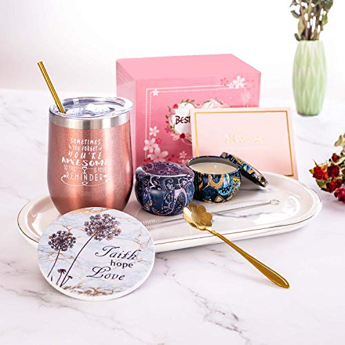 Wine tumbler scented candle gift set -Funny Birthday Gifts for Women, Mom, Wife, Sister, Best Friend, Coworkers-Christmas gifts wine gifts-Wine Tumbler,scented candles,Coasters,Coffee spoon