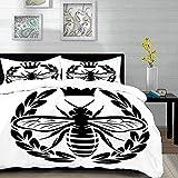 ropa de cama - Juego de funda nórdica, abeja reina, corona monocromática, insecto y corona Silueta de abeja abstracta Regla de la colonia, beige, juego de funda nórdica de microfibra con 2 fundas de a