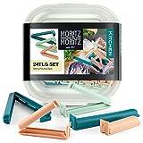 Moritz & Moritz 24 x Pinzas Bolsas Alimentos - Pinzas Cocina Bolsas Clip - Cierra Bolsas Plastico in Caja Transparente - 3 Colores (Menta, Rosado)