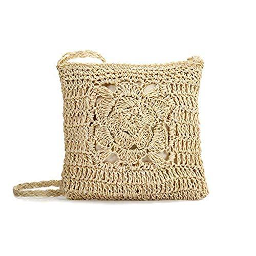 Fablcrew. 1 bolso de hombro cuadrado de paja para mujer, de mimbre, para crossbody de verano, informal, bolsa de playa, vacaciones, Blanco (blanco), 22 * 24 * 4CM