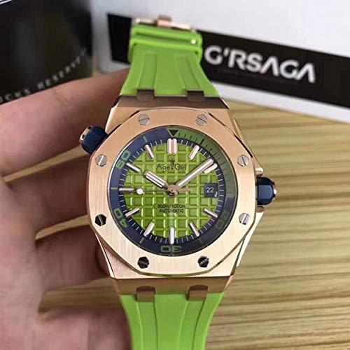 GFDSA Reloj mecánico automático de Acero Inoxidable para Hombres, Relojes Deportivos de Zafiro, Buzo, Caucho Negro, Oro Rosa, Royal Oaks, Verde