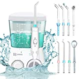 Idropulsore Dentale Professionale, LUOWAN Irrigatore Orale 8 Ugelli di Ricambio, 30-125 psi, Serbatoio da 800ml, 10 Livelli Regolabili di Pressione d'Acqua per Pulizia Igiene Dentale Cura Famiglia