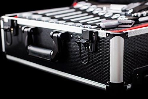 Meister Werkzeugtrolley 156-teilig ✓ Werkzeug-Set ✓ Mit Rollen ✓ Teleskophandgriff | Profi Werkzeugkoffer befüllt | Werkzeugkiste fahrbar auf Rollen | Werkzeugbox komplett mit Werkzeug | 8971440 - 10