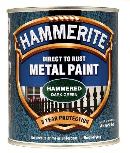 Hammerite Direct to Rust Metal Paint - Hammered Dark Green Finish 750ML