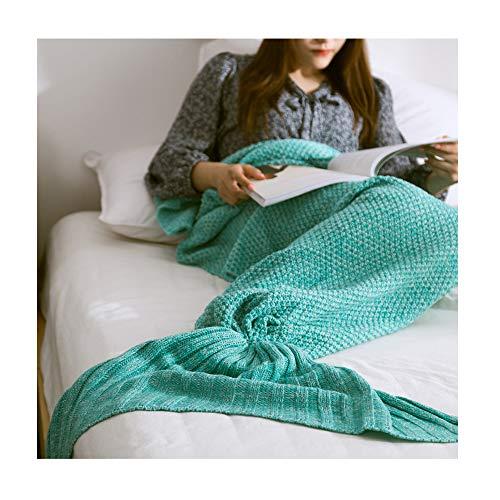 KFZ gestrickte Meerjungfrauenschwanz-Decke zum Anziehen, für Babys, Kinder und Erwachsene geeignet, tolle Dekoration fürs Warmhalten im Winter, grün, 80x180cm adults
