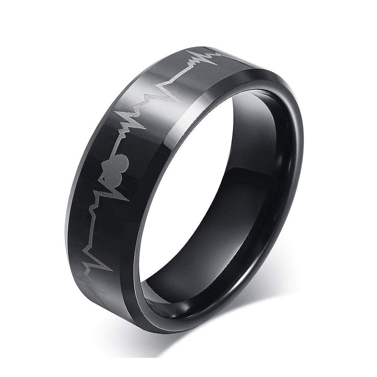 他の場所実行するおそらくRockyu ジュエリー タングステンリング 25 メンズ 指輪 黒 刻印 心電図 幅8㎜ ブラック アクセサリー