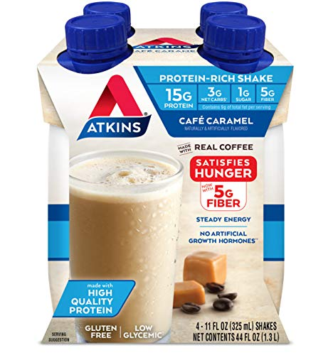 Atkins Café Caramel Protein-Rich Shake. With Protein. Keto-Friendly and Gluten Free. (4 Shakes)
