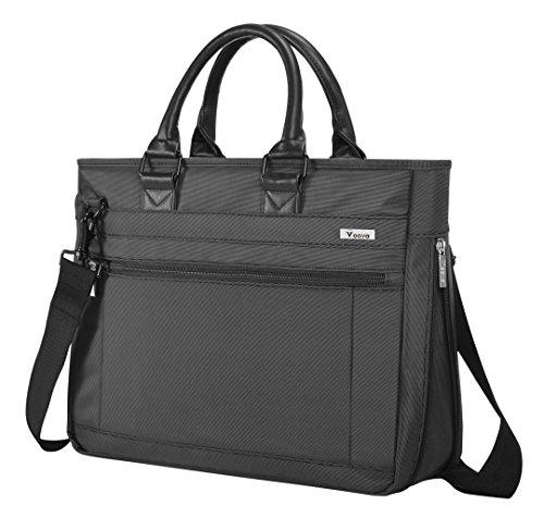 V Voova Laptop Messenger Bag 14 15 15.6 Inch Shockproof Shoulder Notebook Case with Charger/Headphones Pockets Compatible for MacBook Pro 15.4/MacBook/HP/Lenovo/Dell ChromeBook/Ipad Pro,Black