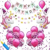 AYApillar 誕生日 飾り付け ユニコーン 風船 ラメ バルーン 女の子 女子 二倍速 ポンプ 空気入れ 付 バースデー パーティー ガーランド 装飾