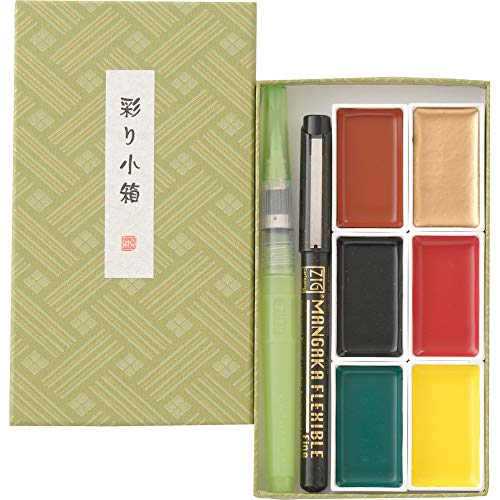 Kuretake IRODORI KOBAKO Green, Gansai Tambi 6 Colors Set, Handcrafted, Professional-Quality Pigment Inks for Artists and Crafters, AP-Certified, Blendable, Show up on Dark Papers, Made in Japan
