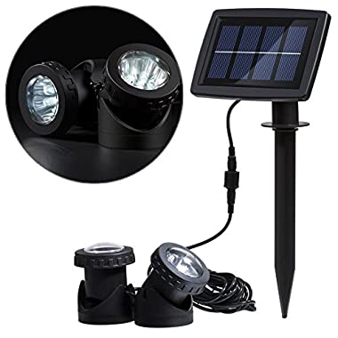 WONFAST® Solar Powered Super Bright Submersible Lamps Landscape Spotlight Projection Lights for Garden Pool Pond Outdoor Decoration Underwater Light (Dual Lamp)