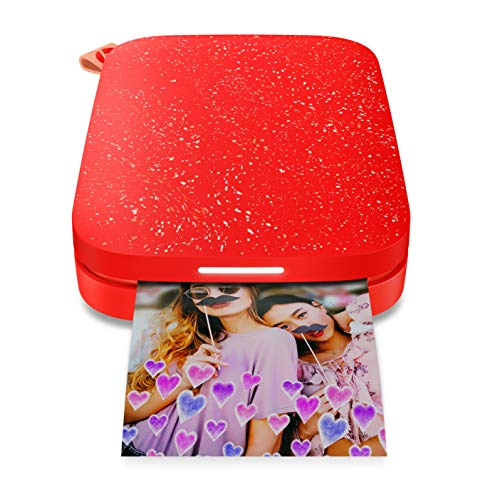 HP Sprocket Portable Photo Printer 2nd Edition (Cherry Tomato) & Sprocket Photo Paper, Sticky-Backed 20 sheets