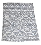 Tribal Asian Textiles indio algodón Ikat Kantha Quilt en gris, reina colcha Ikat manta colcha