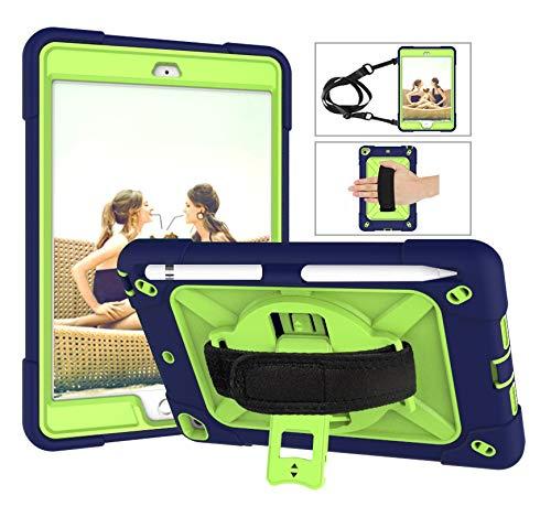 SZCINSEN Robot de contraste de color 3 en uno anticaídas, adecuado para iPad mini1/2/3 funda de tableta, soporte giratorio de mango multifunción [correa para el hombro] (color azul marino + oliva)