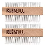 Sneaker Cleaner Brush/Cleaning Brush by KlenBlu - Premium Double Sided Wooden Shoe Care Brush Made with Nylon (2 Pack)