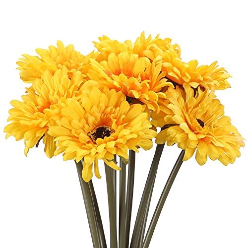 DWANCE 10Pcs Margaritas Artificiales Flores de Gerbera Falsas Ramo Margarita Falsa Flores Amarillo para la Decoración de Bricolaje de La Tumba de La Boda del Jardín de La Oficina en Casa