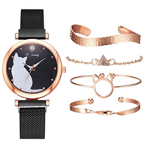 armbanduhren Damen günstig,Armbanduhr Damen metallarmband,Damen Analog Quarz Armbanduhr,armbänder Damen Set,Wristwatch for Women,Bracelets for Girls (Schwarz + Armband)