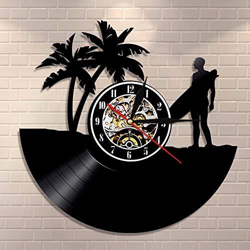 Regalos para Hombres Hawaii Reloj de Pared Surf Personalizado Disco de Vinilo Reloj LP Reloj de Pared Tabla de Surf Playa Reloj Vintage Personalizado Surfer Idea de Regalo
