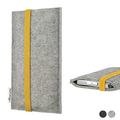 flat.design Handyhülle Coimbra kompatibel mit Huawei P20 Pro Single-SIM Faire Filz Schutz Tasche Hülle hellgrau gelb
