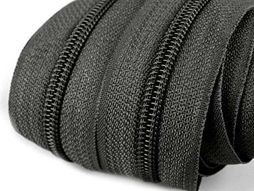 Schnoschi 6 m endlos Reißverschluss 5 mm Laufschiene + 15 Zipper Meterware teilbar Farbwahl (dunkelgrau)