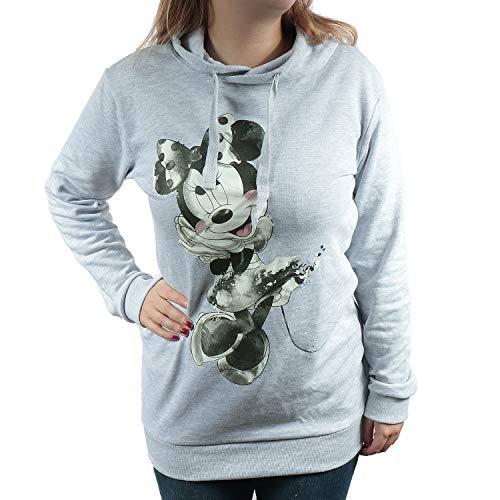 TVM Europe GmbH Longsleeve Damen Pullover extra lang mit Kapuze Snoopy und Minnie Mouse schwarz grau (M, Grey - Minnie Mouse)
