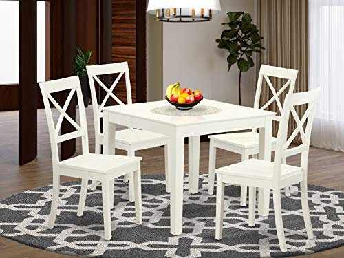 5 Pc small Kitchen Table set and 4 hard wood Dining Chairs. in Linen White