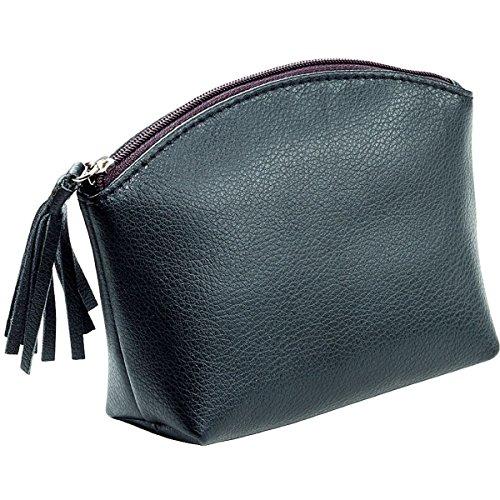 Alassio Kosmetiktasche aus echtem Leder, mit Reißverschluss und Lederzipper, ca. 15,5 x 11 x 5,5 cm Handtaschenhalter, 16 cm, Schwarz