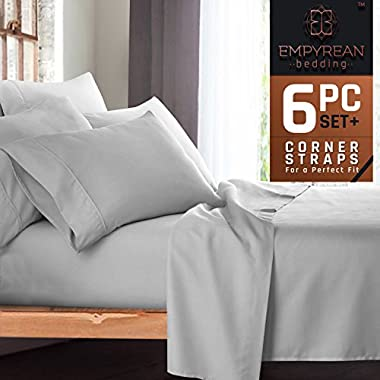 Premium 6-Piece Bed Sheet & Pillow Case Set – Luxurious & Soft Queen Size Linen, Extra Deep Pocket Super Fit Fitted Silver Light Gray Sheets