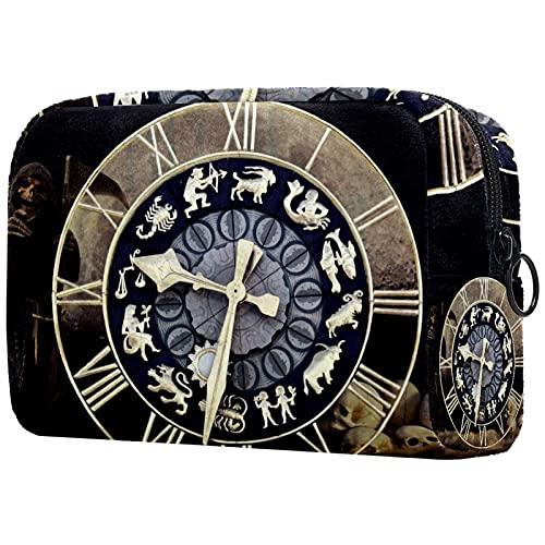 Bolsa de maquillaje grande con cremallera, bolsa cosmética de viaje, bolsa cosmética para mujeres y niñas reloj tiempo destino